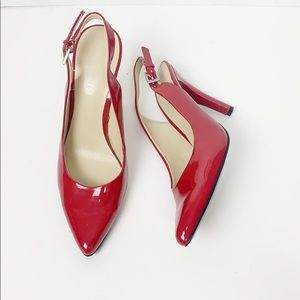 Nine West Red Patent Leather Sling Back Heels
